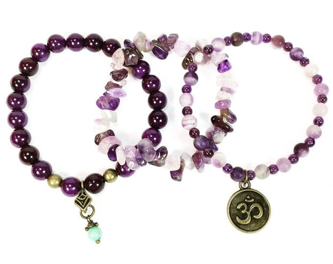 Amethyst Stackable Gemstone Bracelets