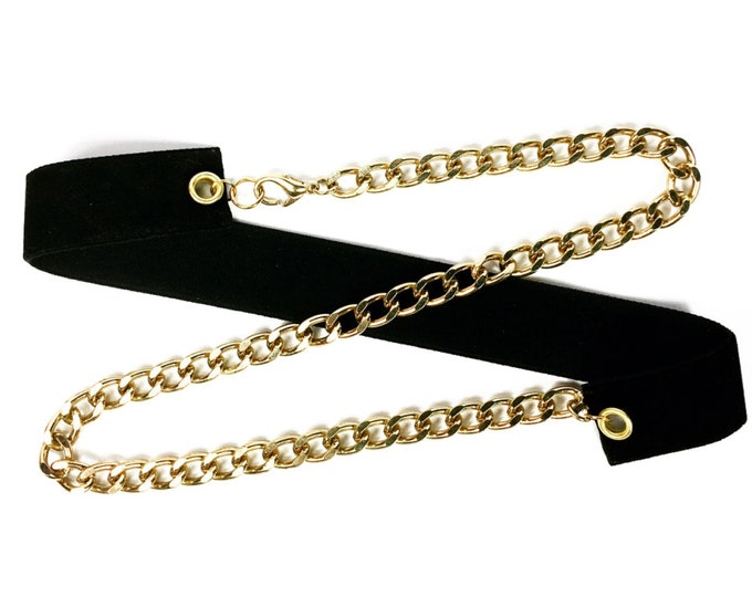 Black Suede Wrap Around Choker with Gold Chain - Gold Chain Choker - Black and Gold Choker - High Fashion - Handmade Jewelry - Trendy - Chic