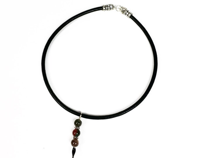 Black Leather Choker - Fancy Jasper Gemstone Choker - Trendy - Fashion - Greek Leather Choker - Minimalist Jewelry - Gemstone Jewelry -