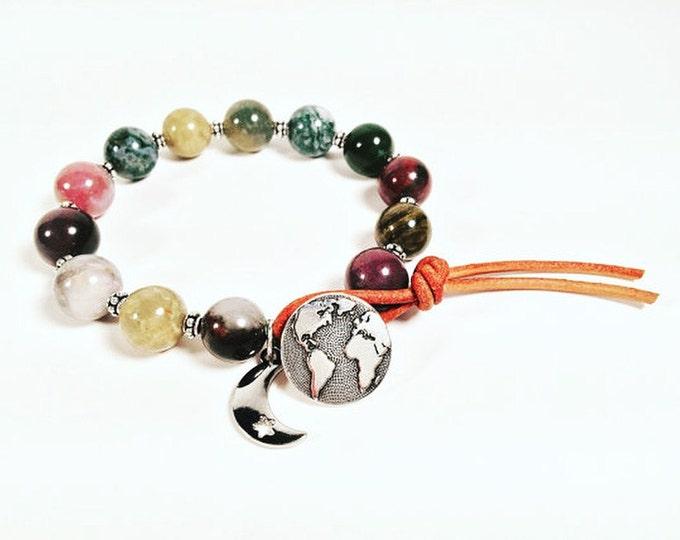 Leather Wrap Bracelet - Fancy Jasper Gemstone Bracelet