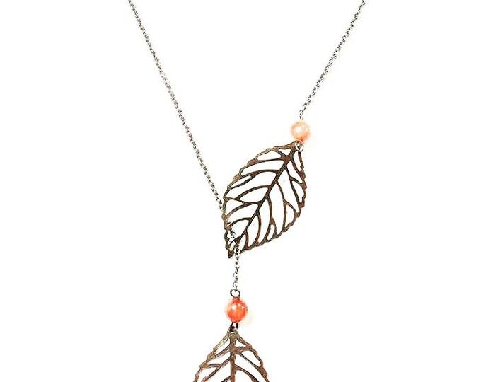 Vintage Bronze Leaf Necklace