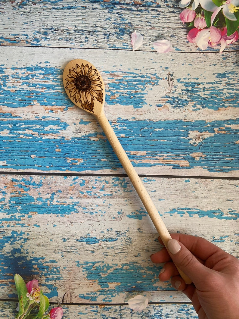 Hand burned sunflower wooden spoons
