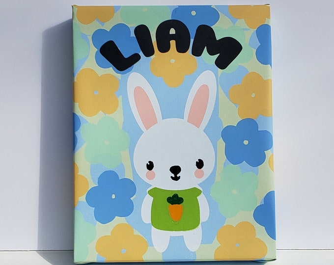 PERSONALIZED Baby's Nursery or Kid's Room Wall Art, silkscreen on canvas & over a hard board. In the name LIAM only as a product sample.
