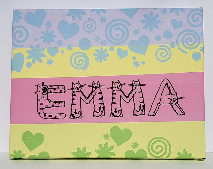 Personalized Name Wall Art for EMMA, Beautiful Color Silkscreen Painting on Canvas and stretched over a Board, 11in. X 14in.
