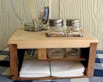 Picnic Table Caddy - Kitchen Table Organizer - Silverware Salt and Pepper Napkin Candle Holder