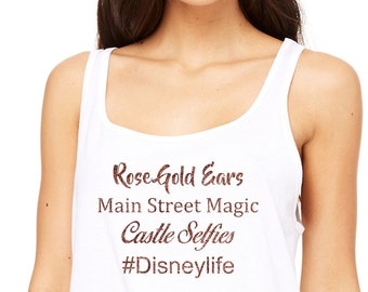 171096caee937 Premium Disneylife Rose Gold Ears Main Street Magic Castle Selfies Glitter  vacation tank top 6488