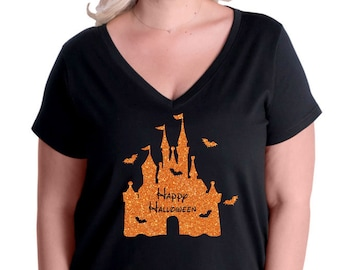 635b3242 Happy Halloween Castle with bats glitter Plus Size women's v-neck top 3807  LAT Curvy