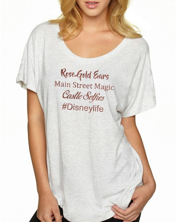 2a25931fe4043 Premium Disneylife Rose Gold Ears Main Street Magic Castle Selfies Glitter  6760 Next Level