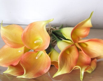 6pc Real Touch Orange/Yellow/Red Mix Calla Lilies/Artificial Flowers/Wedding Bouquet/Floral Arrangement/Home Decor/Spring Flowers