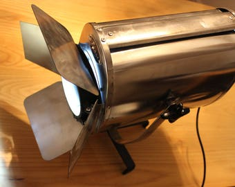 FURSE Fresnel theatre light - Polished and restored with floor stand and shutters