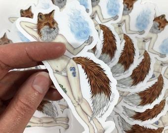 Burlesque Pinup Sparkle Fox Model (Sticker)