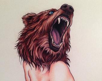 Burlesque Pinup Bear Naked Lady (Mature) Art Print 11x14