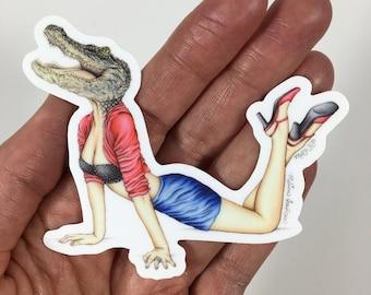 Burlesque Pinup Artwork Alligator (Sticker)