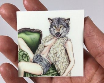 Burlesque of Wolf and Woman Pinup Sticker