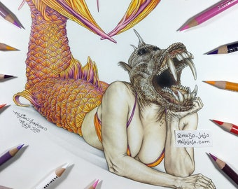 Burlesque The Devil's Mermaid Sabertooth Boar Fish Pinup Art Print 11x14