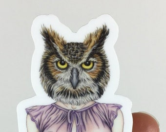 Lady of the Night Sticker Burlesque Pinup Owl