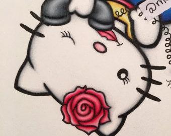 Salutations Kitty Artwork Pinup Sailor Poster Cute 8x10