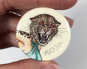 Pinup Burlesque Artwork Leopard Woman (Pinback Button Pins)