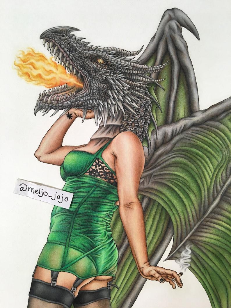 Dragon Burlesque Pinup Artwork Poster Draggin Lady 11x14 image 0
