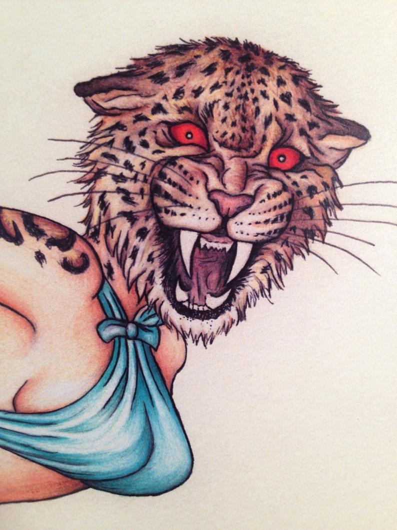 Pinup Burlesque Artwork Leopard Woman Mature Art Print 11x14 image 0