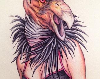 Burlesque Pinup California Condor Gurl (Mature) 11x14 Art Print