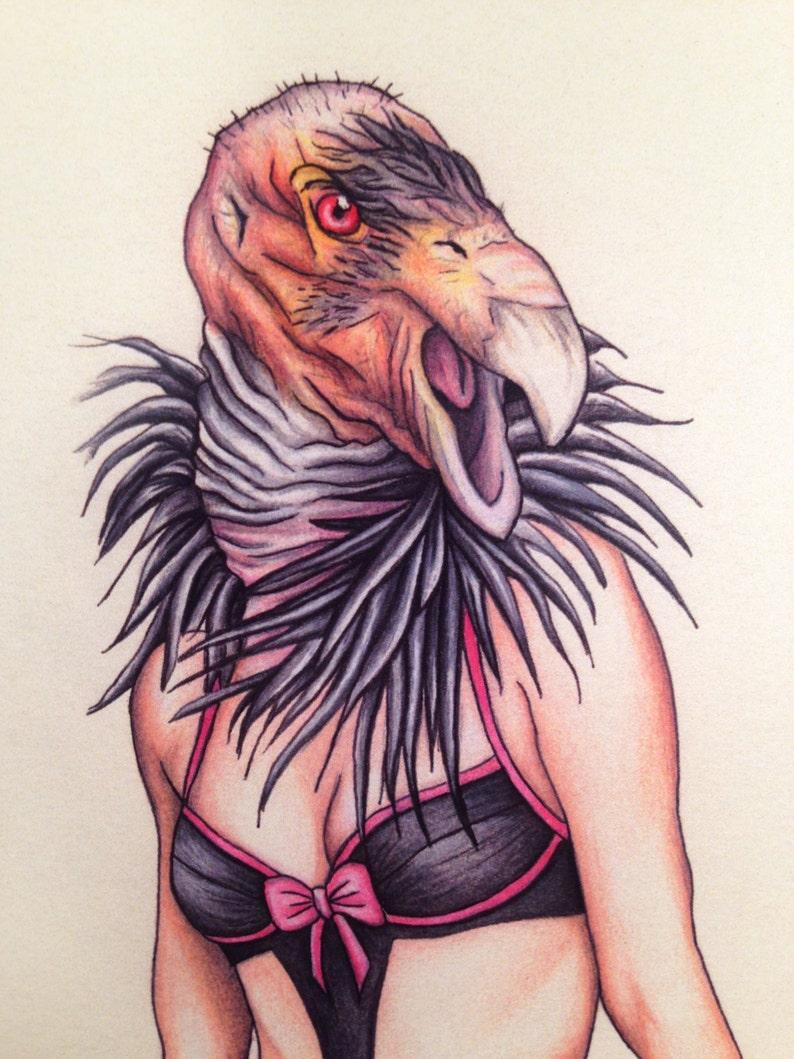 Burlesque Pinup California Condor Gurl Mature 11x14 Art image 0