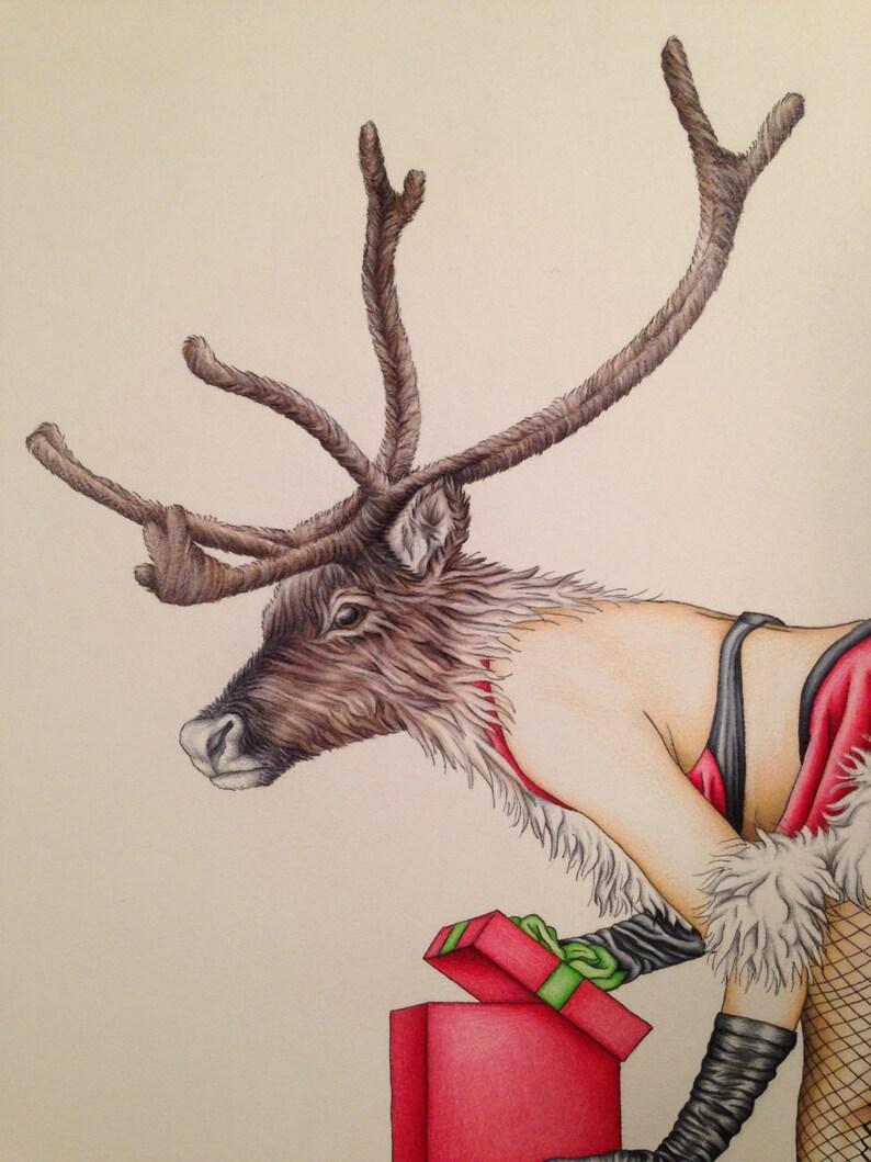 Burlesque Naughty Pinup Mature Santa's Secret Helper Art image 0