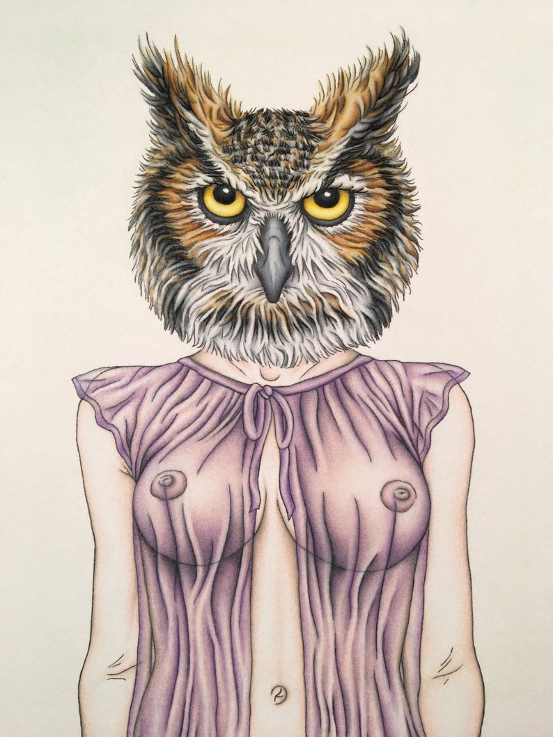 Burlesque Print Owl Artwork Mature Lady of the image 0