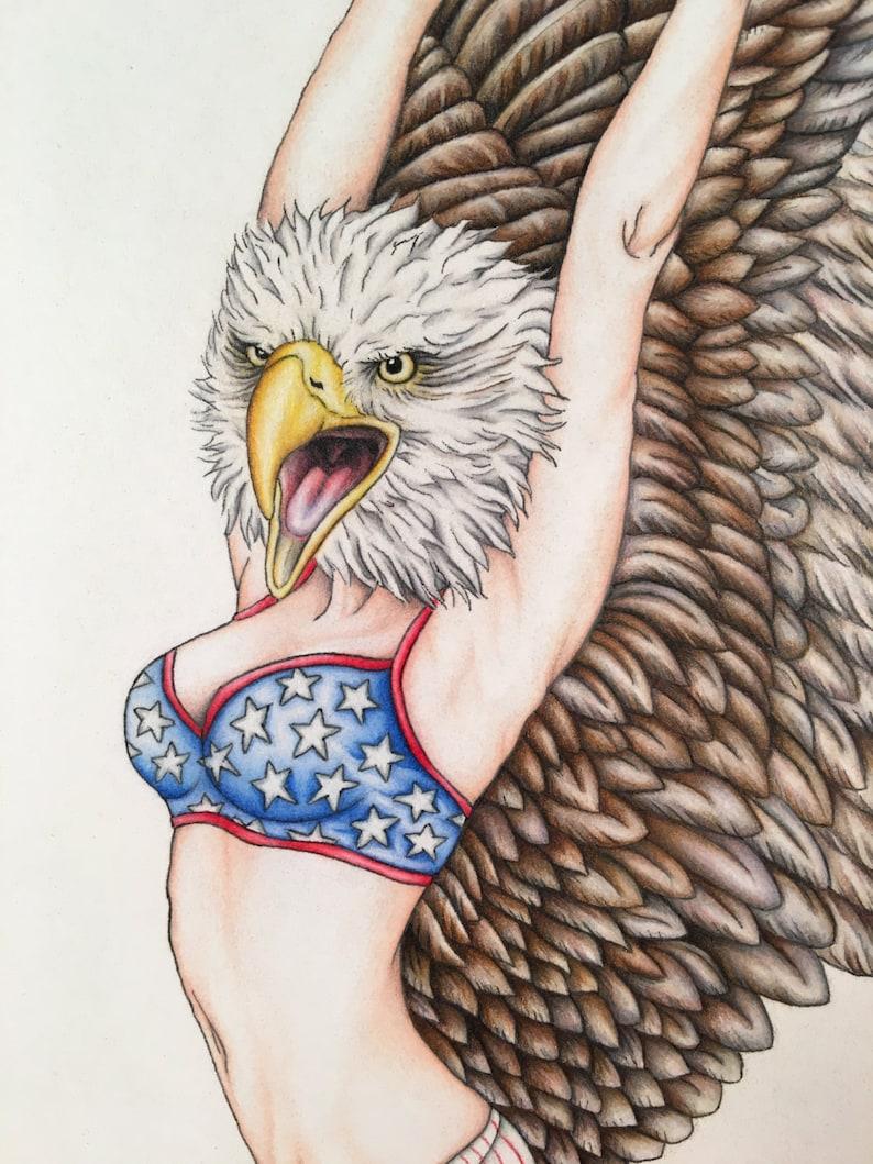 American Woman Pinup Burlesque Patriotic Artwork Print 11x14 image 0
