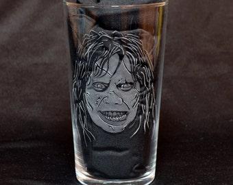 Regan MacNeil (Linda Blair) aka Demon Pazuzu - The Exorcist - Hand Engraved Beer Pint Glass by JayEngrave