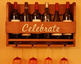 Wine rack wall mounted wooden personalized with wine glass hangers, holds six bottles and four glasses
