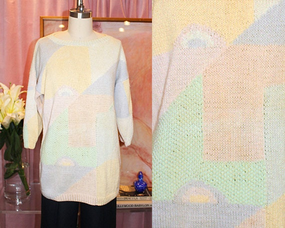 Pastel Hand Knitted Patchwork Face Sweater (M)
