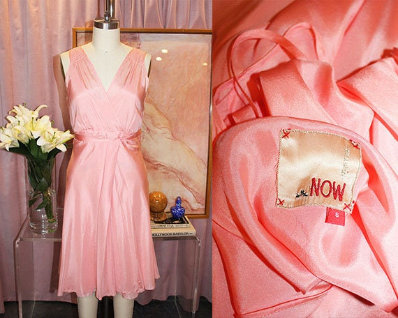 1960's Coral Pink Silk Two-Piece Dress Set (S/M)