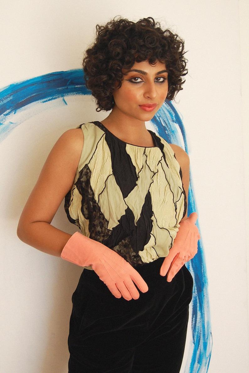 Multi-Color Harlequin Diamond Patchwork Silk Top