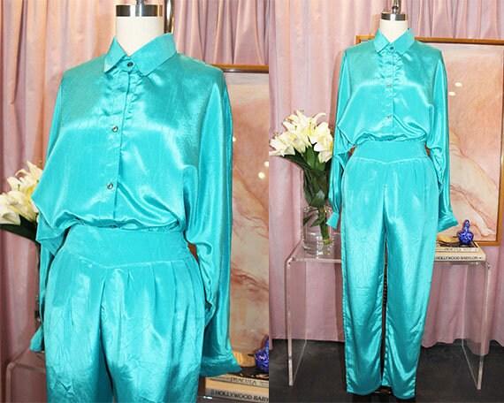 Teal 2-Piece Button Up & Trouser Set (M)