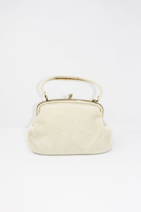 1960s White Beaded Mermaid Handbag