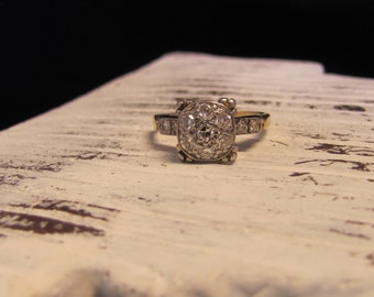Vintage/Estate Diamond Cluster Engagement Ring, Yellow Gold, Heirloom Piece.