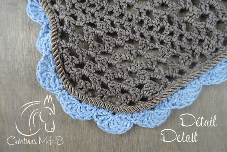 Beige and Blue Horse Fly Bonnet with Twisted Cord Trim Size image 0