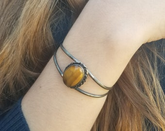 Tiger Eye and Sterling Silver Cuff Bracelet