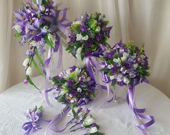 Purple Mauve Green Leaf Bridal Bouquet Set