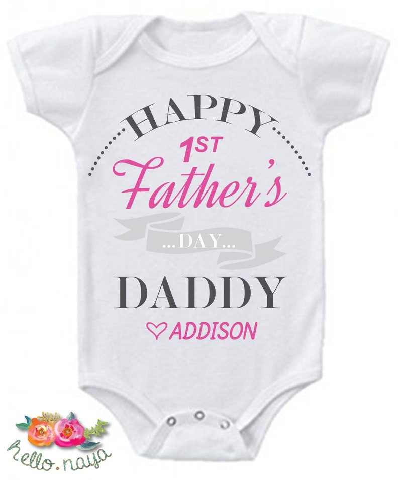 Custom Our first Father/'s day red long rompersuit baby grow bodysuit fathers