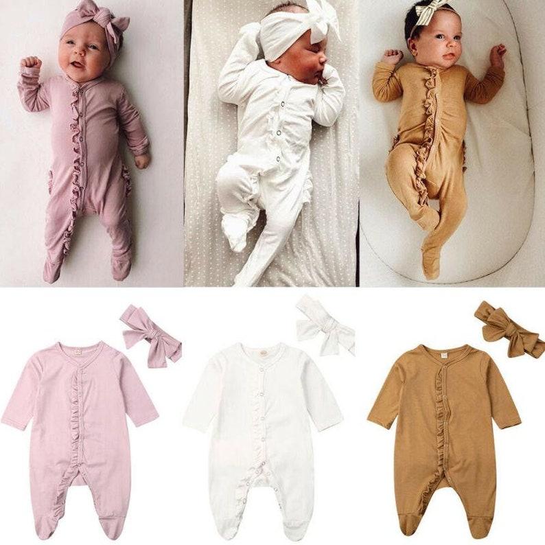 Long Sleeve Ruffle Cotton Romper Jumpsuit 2PCS Outfit