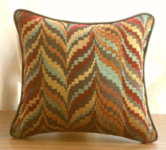 Incredible Zig Zag Printed Pillows Striped Throw Pillows Custom Multi Color Pillows Small Throw Pillow Red And Brown Pillows Pillows With Insert Theyellowbook Wood Chair Design Ideas Theyellowbookinfo
