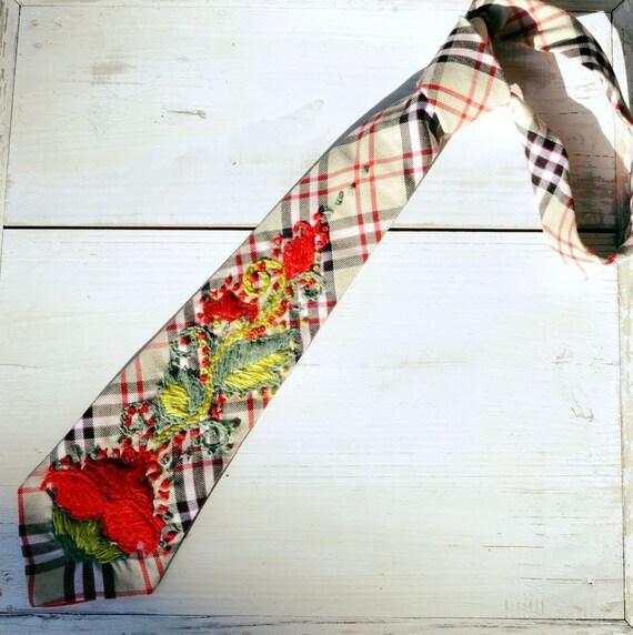 red flowers ties jewelry women ties women tie with rose embroidery women tie tie women gift cotton flowers tie embroidery collar