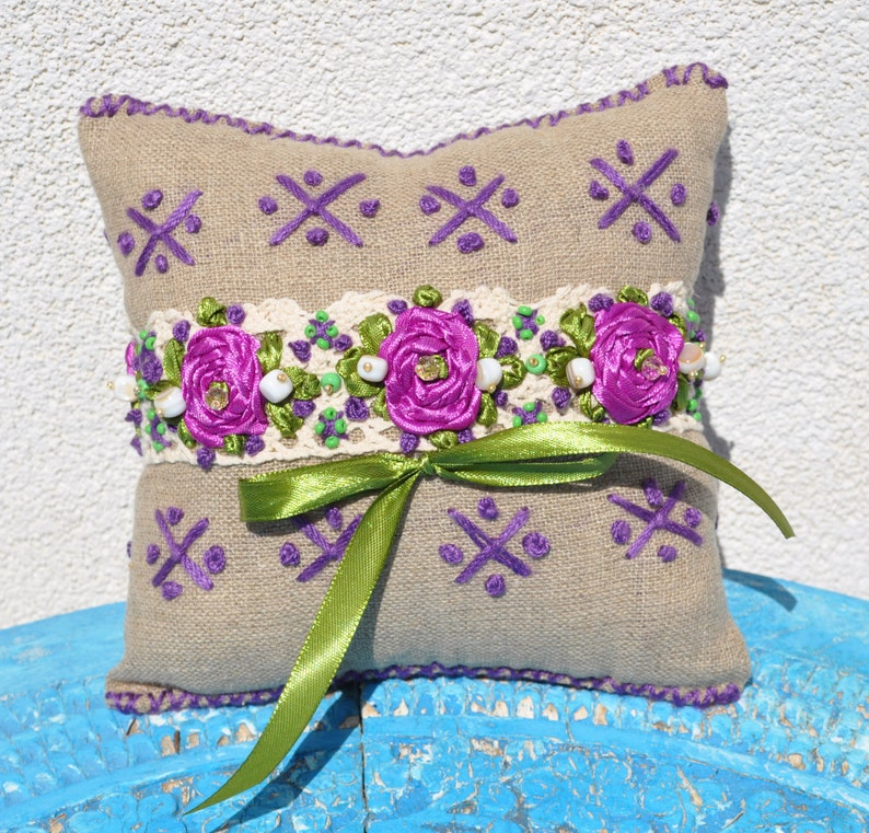 linen lace pillow wedding rings pillow rustic linen pillow linen gris pillow natural line pillow embroidered pillow