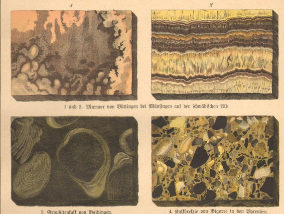Magnification  rocks microscope process Thin section engraving 1896 Antique optical mineralogy  print Petrography science lithograph