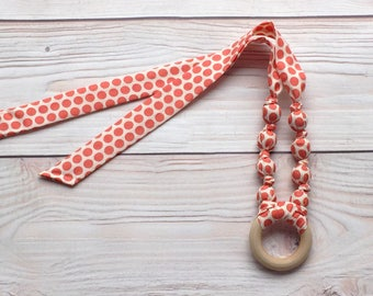 Teething ring necklace - Organic teething ring - Wood teething necklace - Fabric teething necklace - Organic gender neutral baby gift