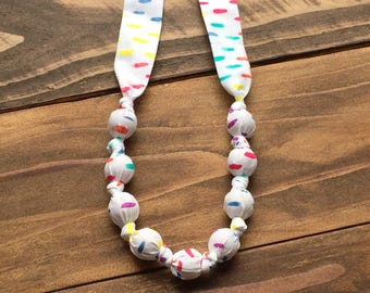 Rainbow baby necklace - Organic teething necklace - Nursing necklace - Fabric teething necklace - Eco friendly baby gift - Wooden teether