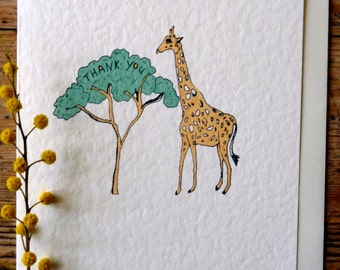 Giraffe thank you card