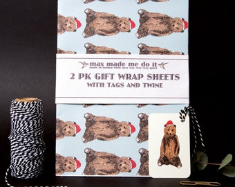 Festive bear Christmas gift wrapping pack